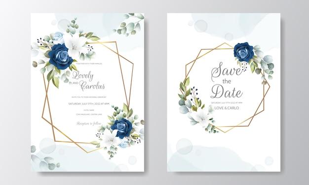 Mooie hand getrokken bloemen bruiloft uitnodigingskaart Premium Vector