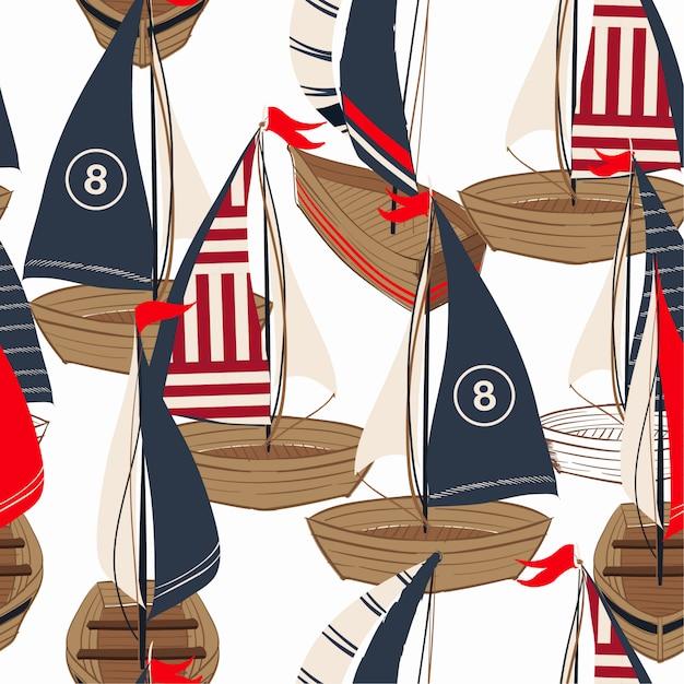 Mooie hand getrokken boot op het oceaan naadloze patroon Premium Vector