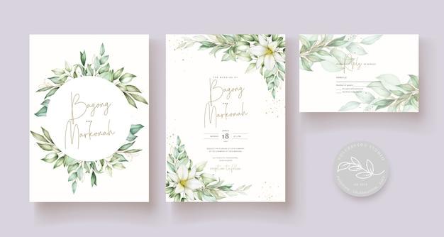 Mooie hand getrokken bruiloft kaartsjabloon Gratis Vector