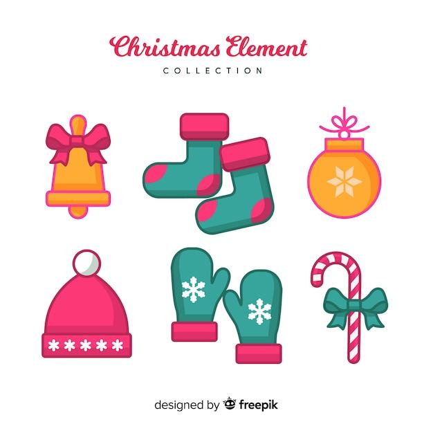 Mooie hand getrokken kerst element collectie Gratis Vector