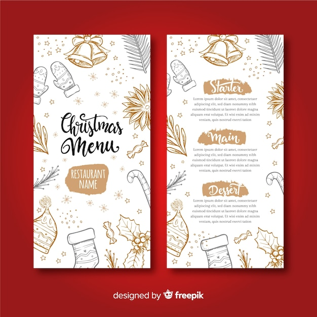 Mooie hand getrokken kerst menusjabloon Gratis Vector