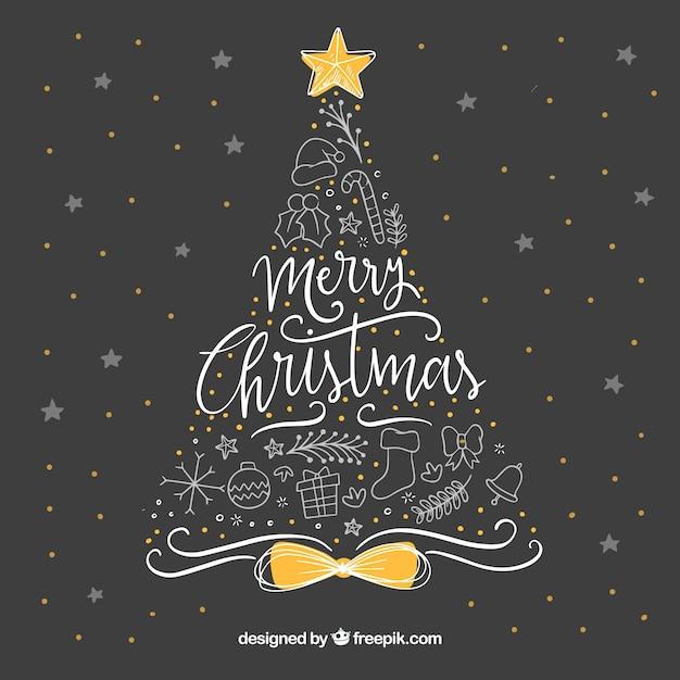 Mooie Hand Getrokken Kerstmis Achtergrond Vector Gratis Download