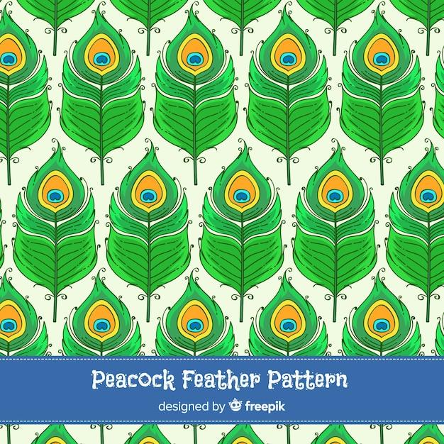Mooie hand getrokken pauwenveer patroon Gratis Vector