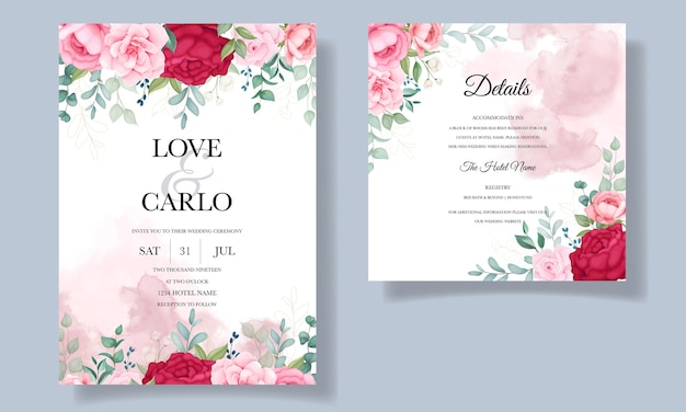 Mooie hand tekenen bruiloft uitnodiging bloemen kaartsjabloon Gratis Vector