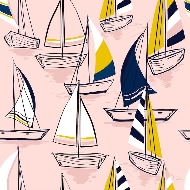 Mooie hand tekening schets naadloze zomer zee patroon Premium Vector