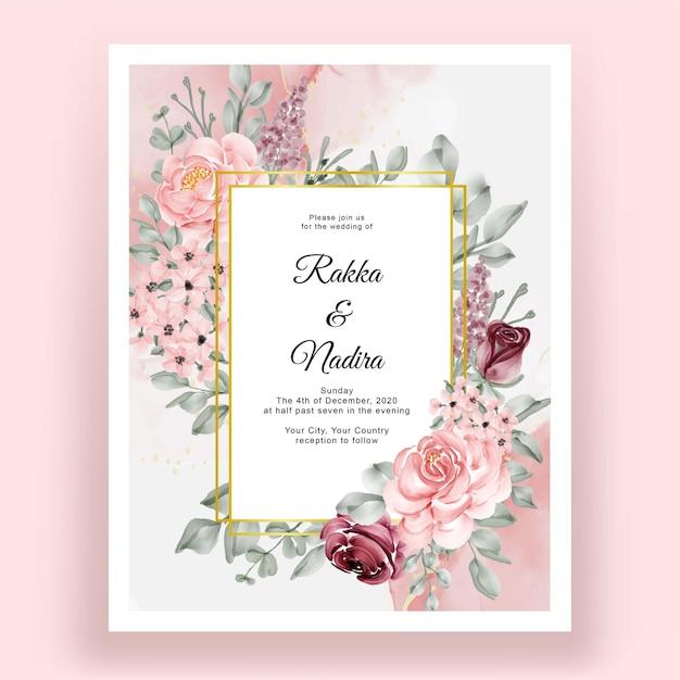 Mooie handtekening bruiloft bloem uitnodiging Premium Vector