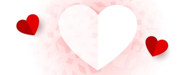 Mooie harten valentijnsdag banner ontwerp Gratis Vector