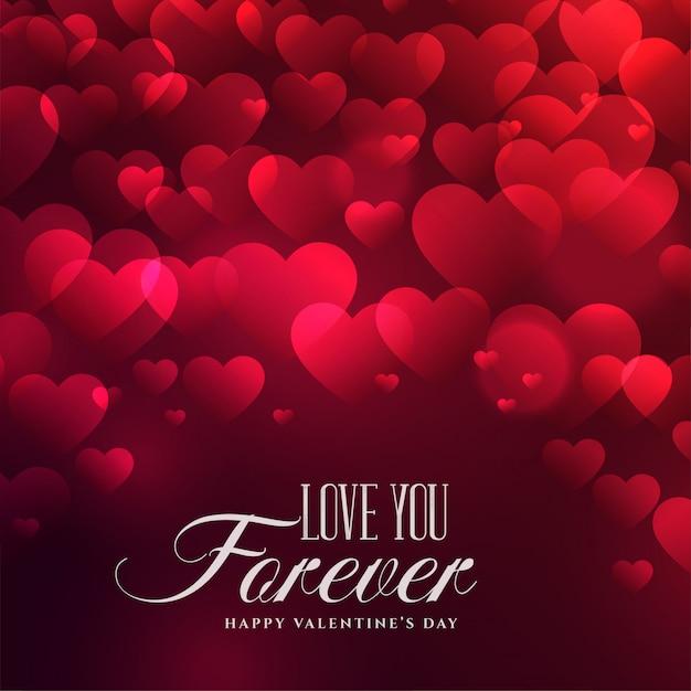 Mooie hartenachtergrond voor valentijnskaartendag Gratis Vector