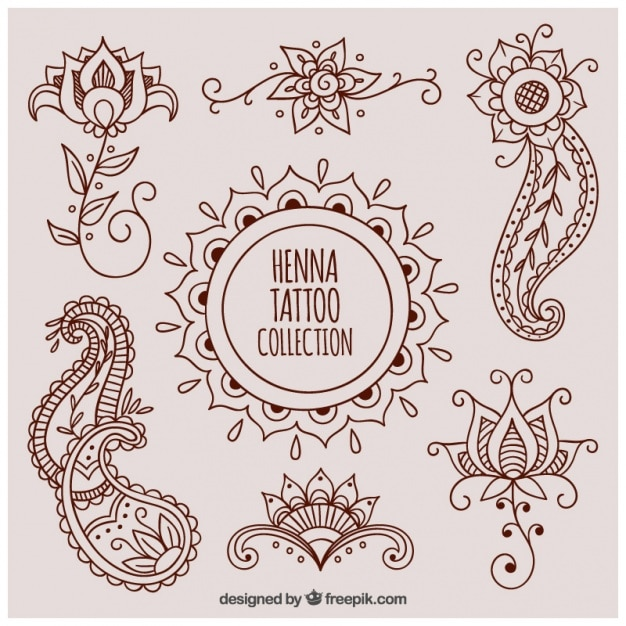Mooie henna tattoos Gratis Vector