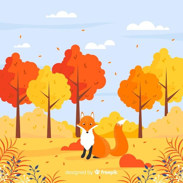 Mooie herfst achtergrond met platte ontwerp Gratis Vector