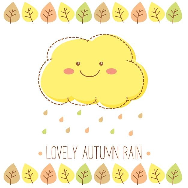 Mooie herfstregenwolk met regendruppels en bladeren Gratis Vector