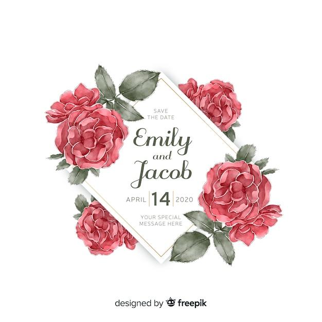 Mooie het huwelijksuitnodiging van het waterverf bloemenkader Gratis Vector