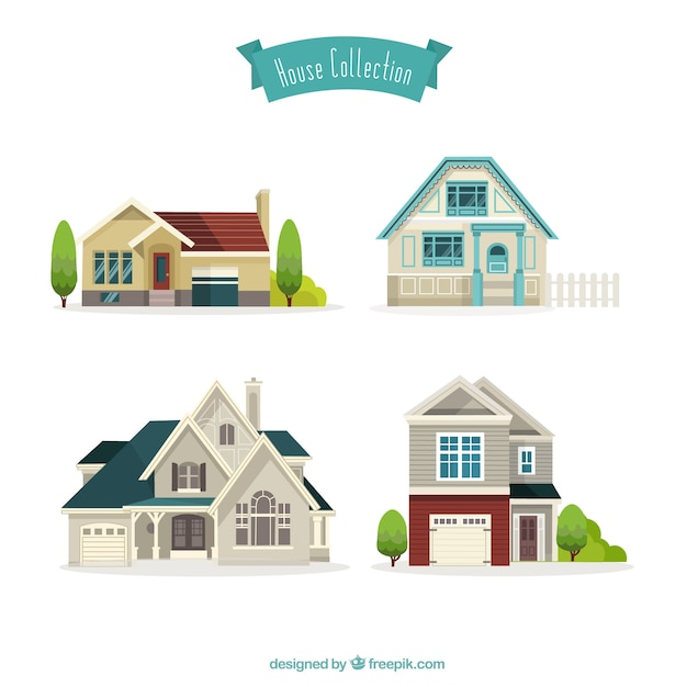 Mooie huizen collectie Gratis Vector