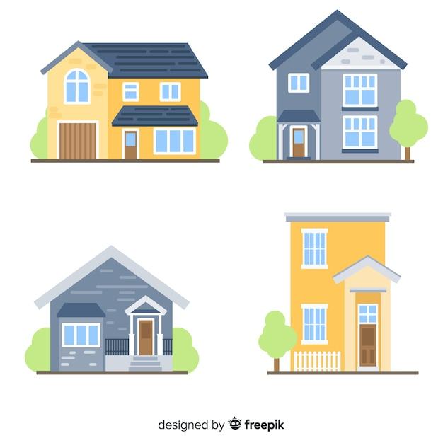Mooie huizen in te stellen Premium Vector