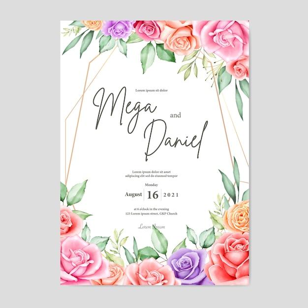 Mooie huwelijkskaart met waterverf bloemen en bladeren Premium Vector