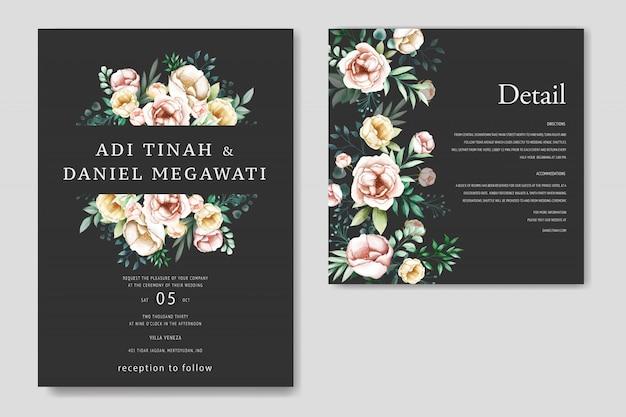 Mooie huwelijksuitnodiging met bloemenframe Premium Vector