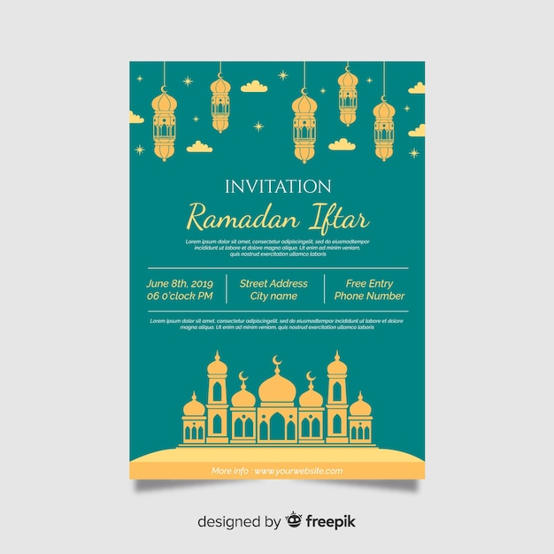Mooie iftar uitnodigingssjabloon Gratis Vector