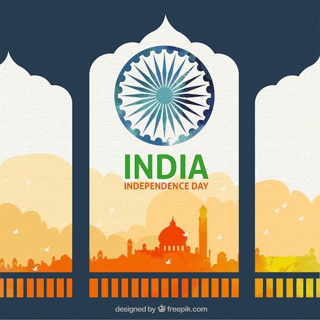 Mooie indiase onafhankelijkheidsdag achtergrond Gratis Vector