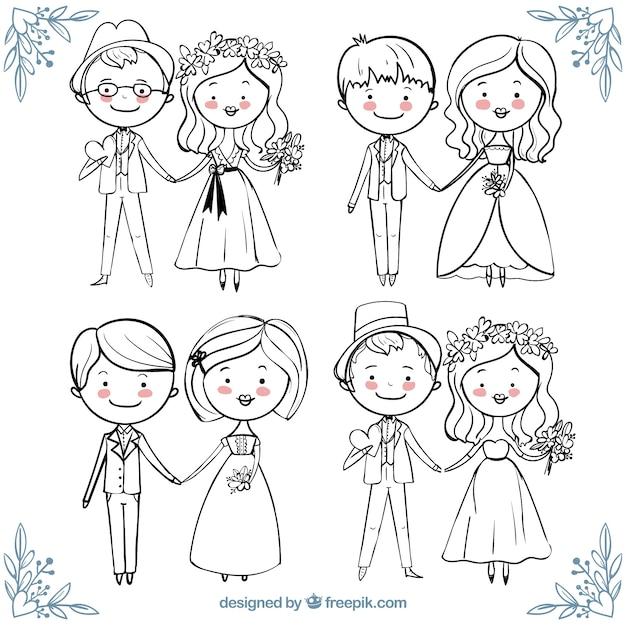 Mooie inzameling van gelukkige bruidsparen in de hand getekende stijl Gratis Vector