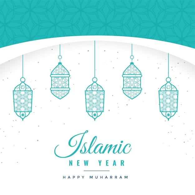 Mooie islamitische nieuwe jaarachtergrond met hangende lantaarns Gratis Vector