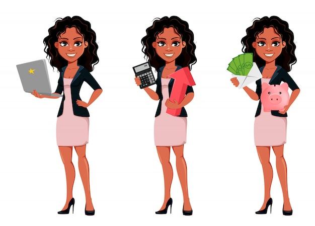 Mooie jonge afrikaanse amerikaanse bedrijfsvrouw Premium Vector