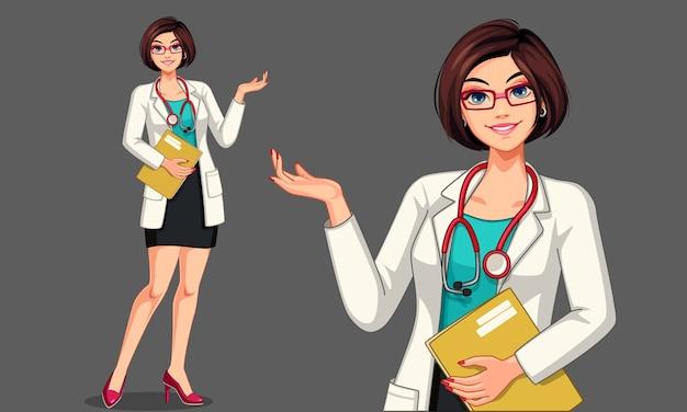 Mooie jonge dame arts met een stethoscoop en schort illustratie Premium Vector