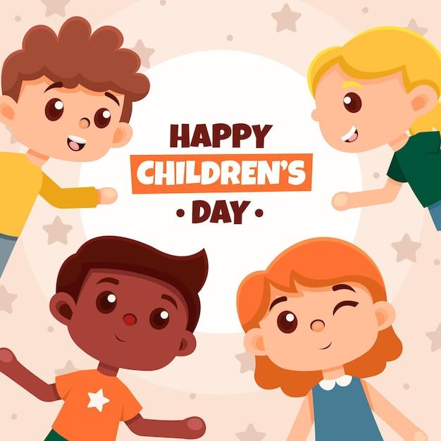 Mooie jongen karakters wereldkinderen dag Premium Vector