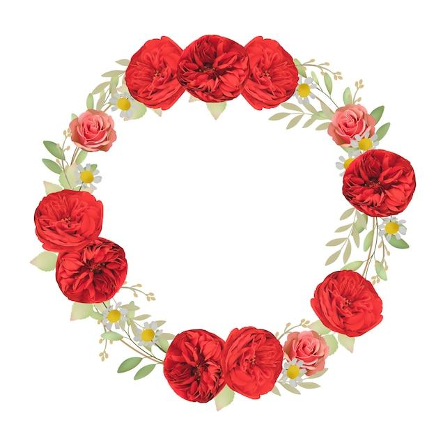 Mooie kaderachtergrond met bloemen rode rozen Premium Vector