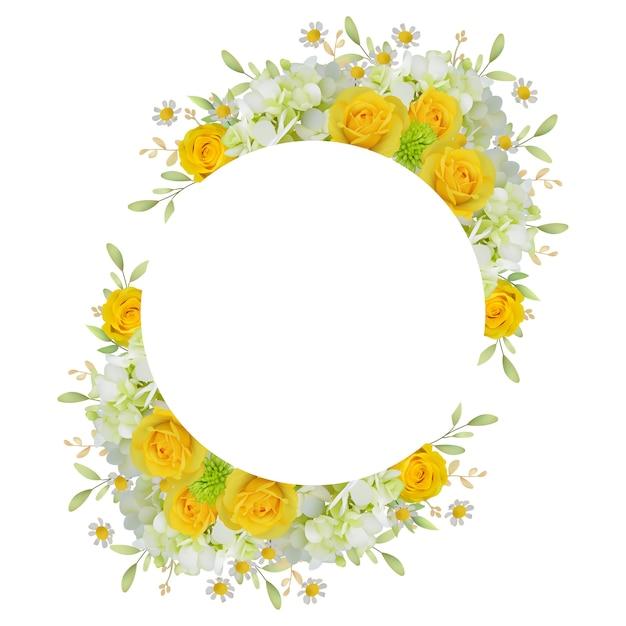 Mooie kaderachtergrond met bloemenrozen en hortensia Premium Vector