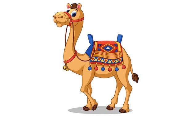 Mooie kameel cartoon vectorillustratie Premium Vector