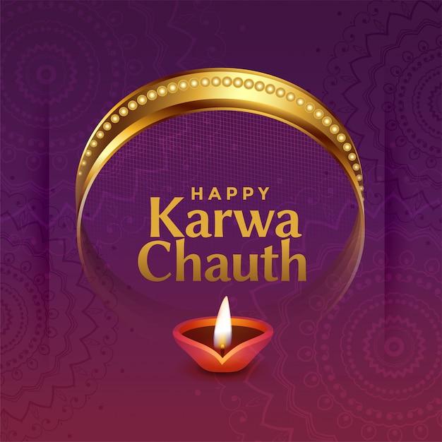 Mooie karwa chauth indische festivalgroet met decoratieve elementen Gratis Vector