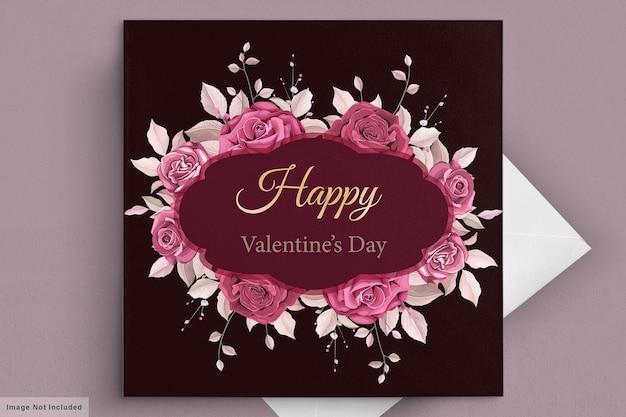 Mooie kastanjebruine valentijnsdag kaartsjabloon Gratis Vector
