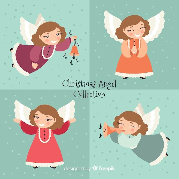 Mooie kerst engel collectie Gratis Vector