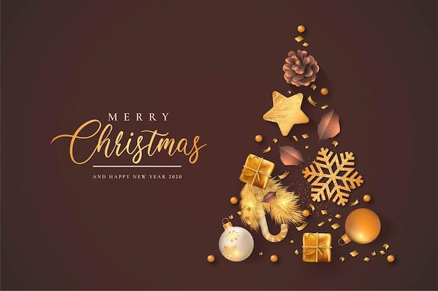 Mooie kerst met gouden decoratie Gratis Vector