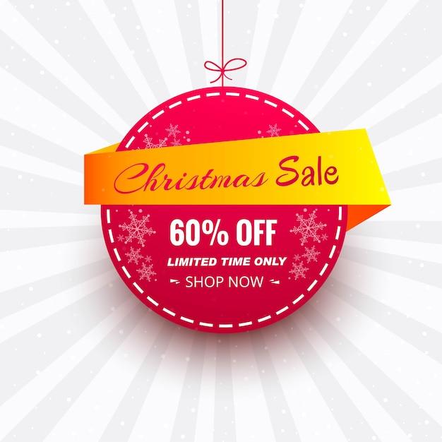 Mooie kerst verkoop banner achtergrond Gratis Vector