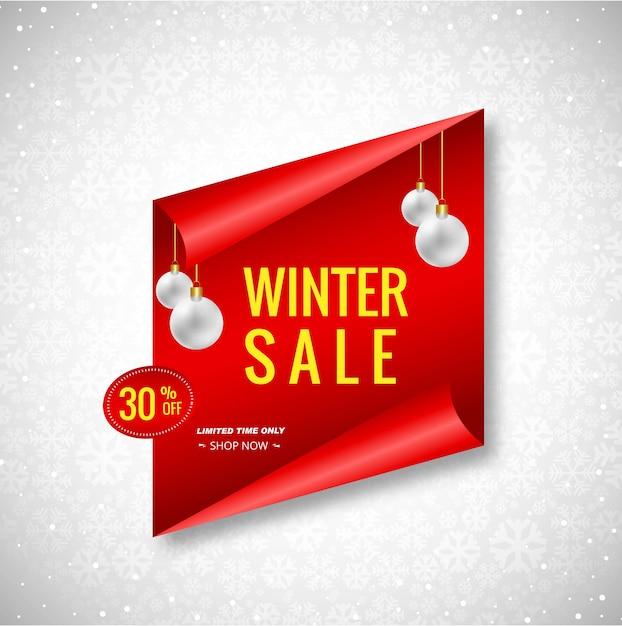 Mooie kerst winter verkoop banner achtergrond Premium Vector