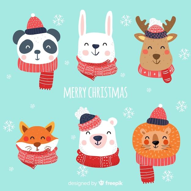 Mooie kerstkarakter collectie met plat ontwerp Gratis Vector