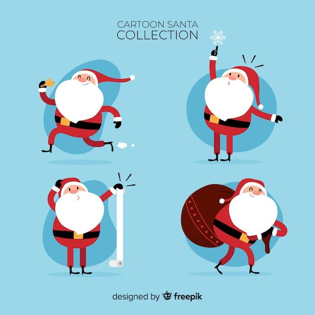Mooie kerstman karakter collectie met platte ontwerp Gratis Vector