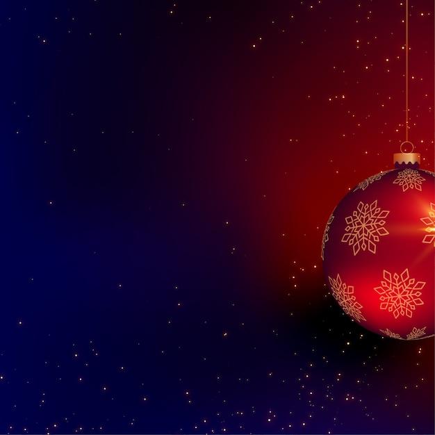 Mooie kerstmis 3d bal met tekstruimte Gratis Vector