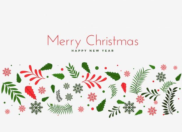 Mooie kerstmis verlaat decoratie achtergrond Gratis Vector