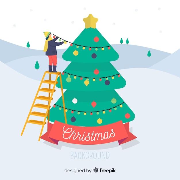 Mooie kerstmisachtergrond met vlak ontwerp Gratis Vector