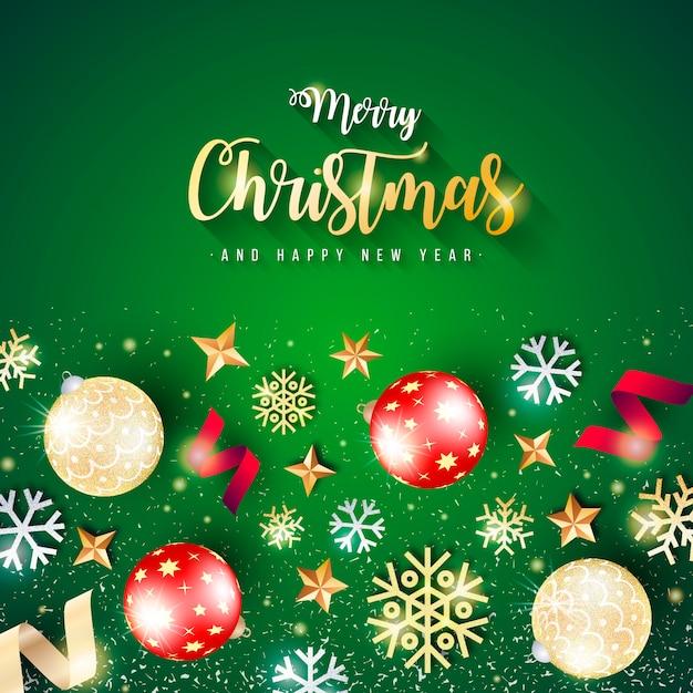 Mooie kerstmisbanner met groene achtergrond Gratis Vector