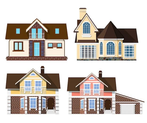Mooie kleine gezellige landelijke huizen op een witte achtergrond Premium Vector