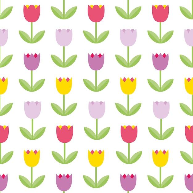 Mooie kleurentulpen op de witte achtergrond. naadloos patroon. kleurrijk bloemenpatroon. leuk bloem goed gebruik als achtergrond voor moederdag, 8 maart, de lentekaarten, de zomerillustraties. Premium Vector