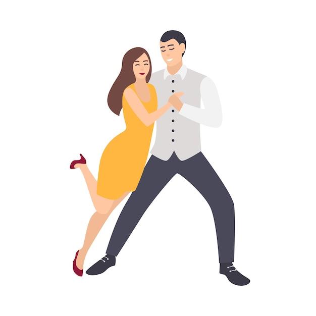 Mooie langharige vrouw in gele jurk en elegant geklede man salsa dansen Premium Vector