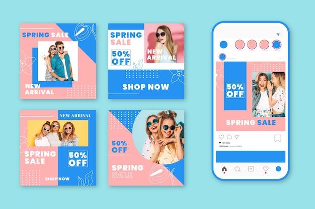 Mooie lente verkoop instagram berichten collectie Gratis Vector