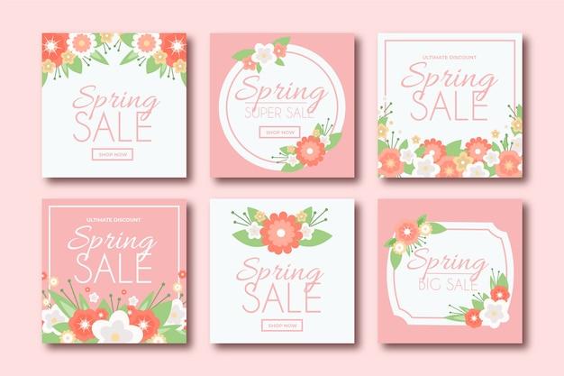 Mooie lente verkoop instagram berichten set Gratis Vector