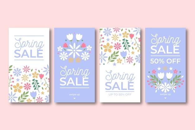 Mooie lente verkoop instagram verhalen ingesteld Gratis Vector