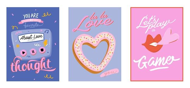 Mooie liefdesprint met valentijnsdag-elementen. romantische en schattige elementen en mooie typografie. hand getrokken illustraties en belettering. goed voor bruiloft, plakboek, logo, t-shirtontwerp. Premium Vector