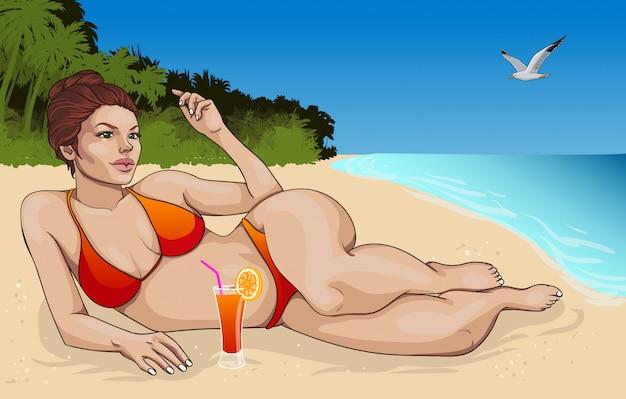 Mooie liggende vrouw in bikiniconcept Gratis Vector